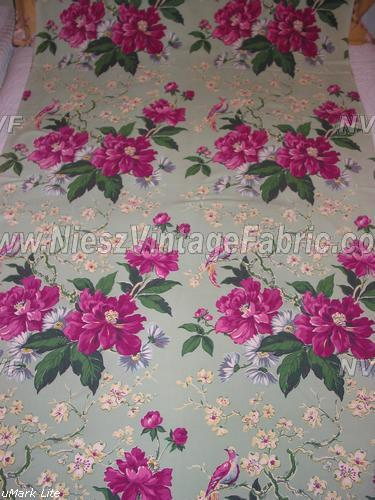 Pink Flowers and Birds on Jadite Barkcloth