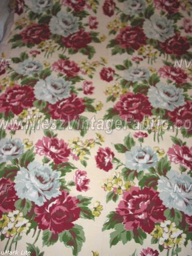 Large Floral Nubby Barkcloth