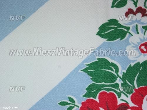 Red Roses and Blue Stripes Tablecloth