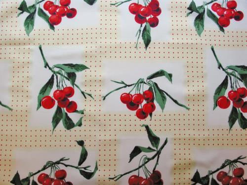 Vintage Red Cherries and Polka Dots Fabric
