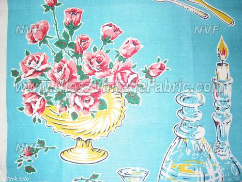 Pink Roses on Aqua Kitchen Towel