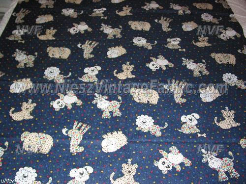 Calico Animals on Navy Denim