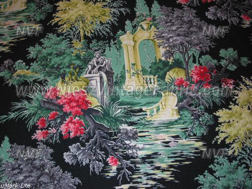 Black Romantic Garden Barkcloth