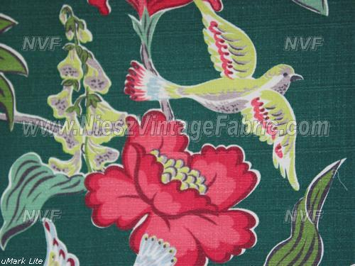 Whimsical Chartreuse Bird and Floral Barkcloth