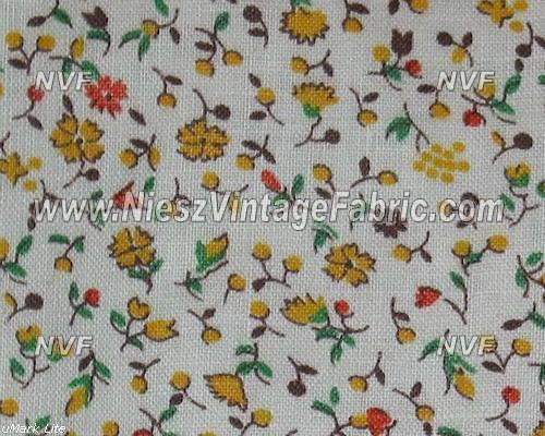 1930's Tiny Yellow Circle Flower Calico Print