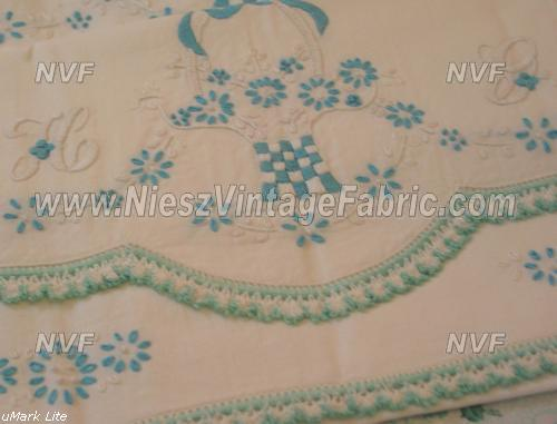 "Teal/Aqua Flower Basket Pillowcases Monogram ""H G"""