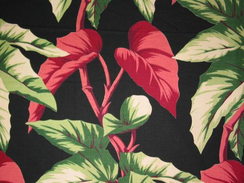 Pink Caladium on Tropical Black Barkcloth