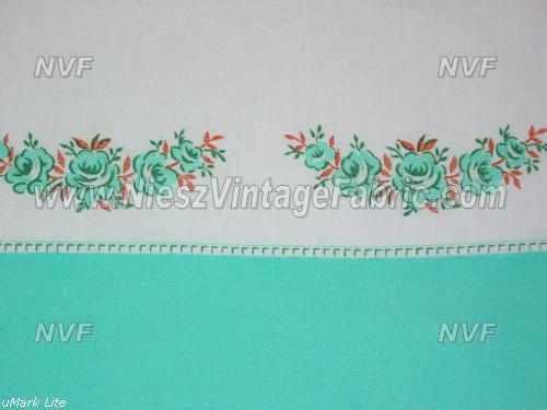 Jadeite Green Rose Swags Border Feedsacks