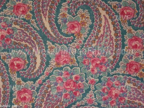 Dark Teal Paisley and Roses Voile