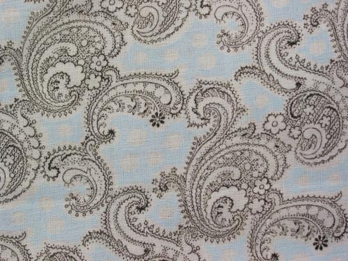 Antique 1890-1910's Sky Blue Paisley