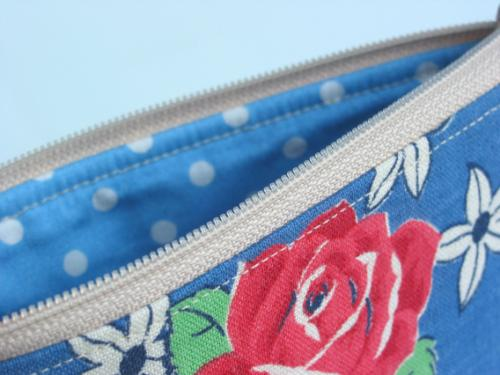 Blue Vintage Fabric Pouch