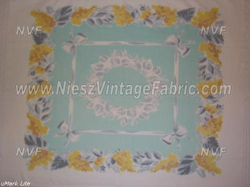 Jadite Green with Bows and Lilacs Tablecloth