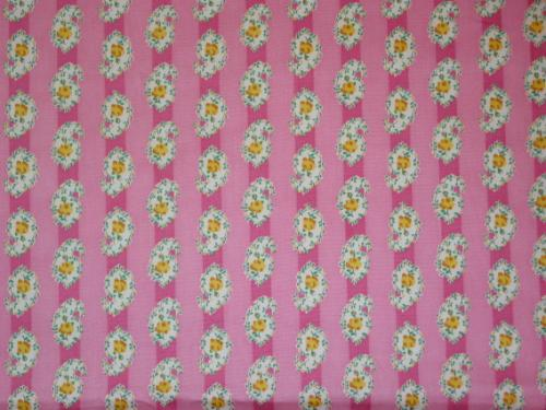 Pink Stripe and Yellow Rose Paisley