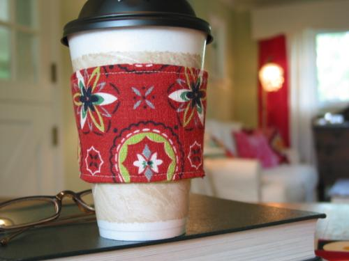 Vintage 50's Red Geometric Fabric Coffee Sleeve
