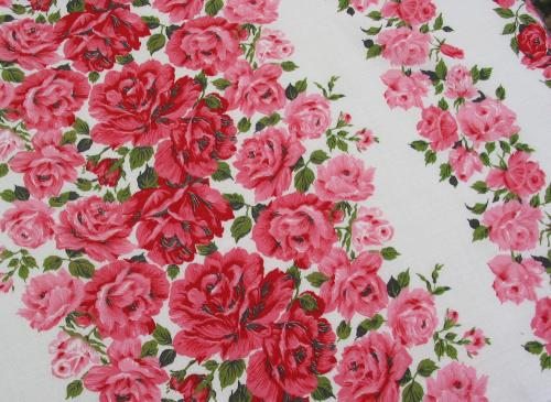 Pink and Red Rose Columns Barkcloth