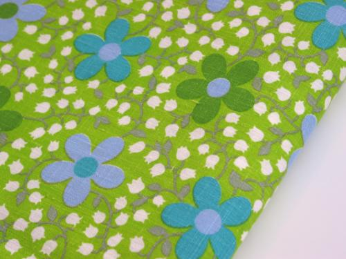 Vintage MOD Daisy and Lily of the Valley Fabric