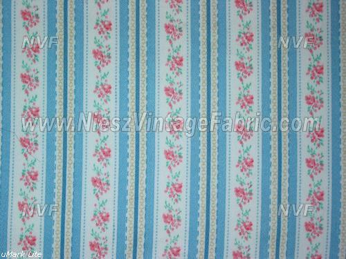 Pink Roses and Blue Stripe Ticking