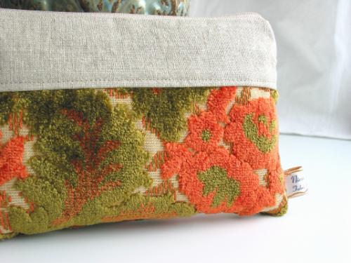 Orange Floral Cut Velvet Chenille Zip Clutch