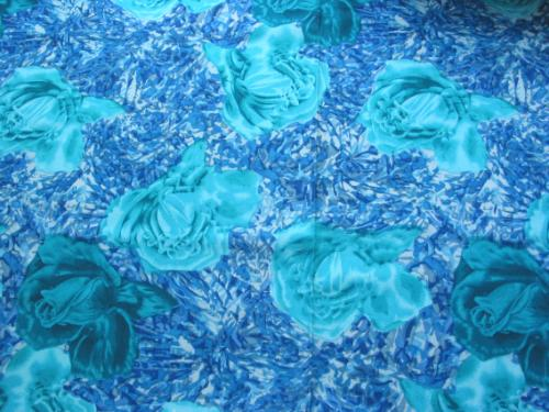 Bold Teal Rose Dress Fabric