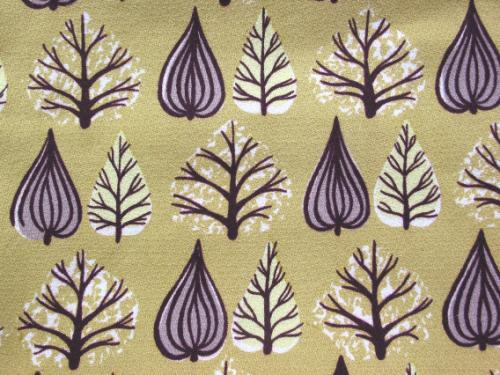 Midcentury Trees and Leaves Barkcloth
