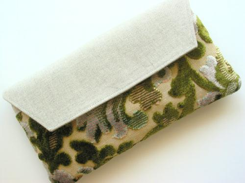 Green Cut Velvet Chenille Clutch