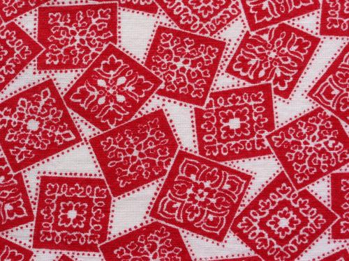 Novelty Feedsack Red Squares Snowflakes