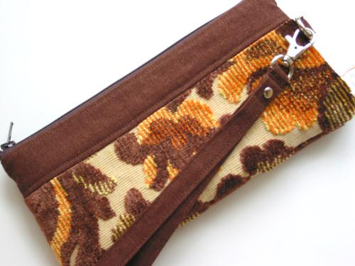 Brown Vintage Cut Velvet Wristlet