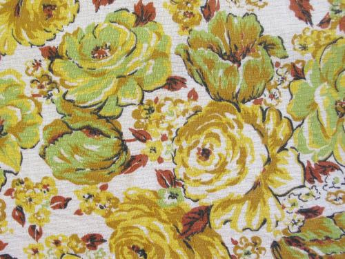 1950-60's Lemon Lime Roses Fabric