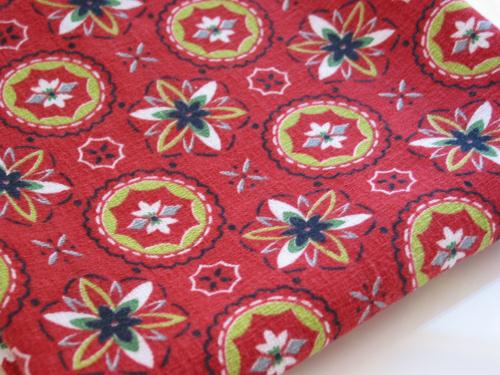 1950's Red Geometric Barkcloth