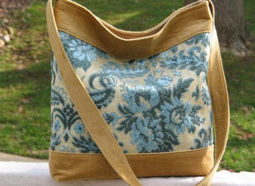 Blue Cut Velvet Boho Hip Bag