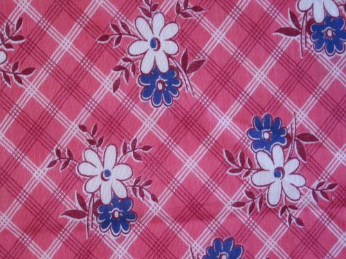 Vintage Pink Plaid with Blue Floral