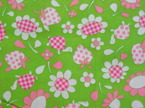 Vintage Turtle Strawberry Fabric Lime Pink