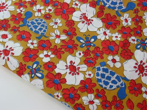 Vintage 70s Turtle Daisy and Bee Fabric