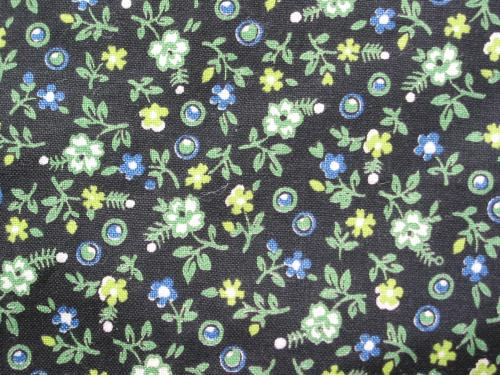 Vintage Fabric Calico Black and Lime Green Daisy