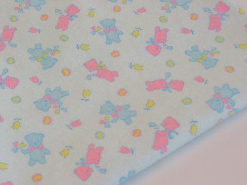 Vintage Teddy Bears and Tulips Flannel Blue Pink