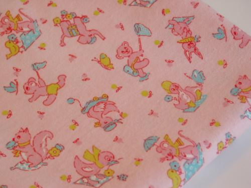Vintage Pink Flannel Bunnies Ducks and Bears