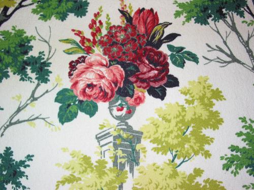 Chartreuse Trees and Pink Roses Barkcloth