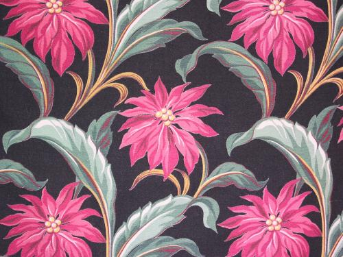 Black Tropical Flower Barkcloth