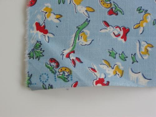Vintage Fabric Bunnies and Mushrooms on Blue
