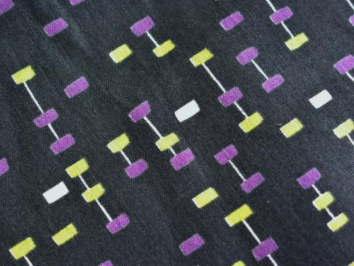 Black Midcentury Atomic Geometric Fabric