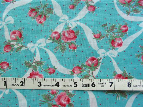 Aqua with Pink Roses Feed Sack