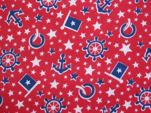 Vintage Nautical Fabric RWB Novelty Print