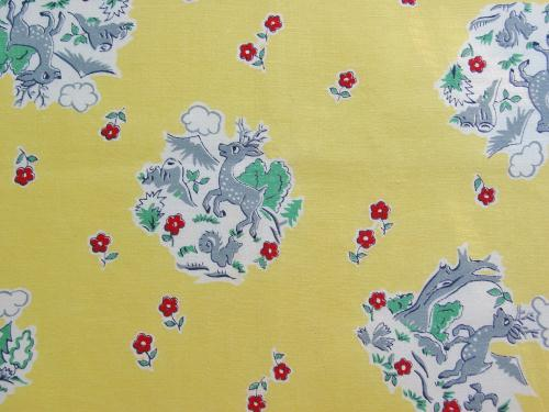 Vintage Cute Woodland Deer Fabric