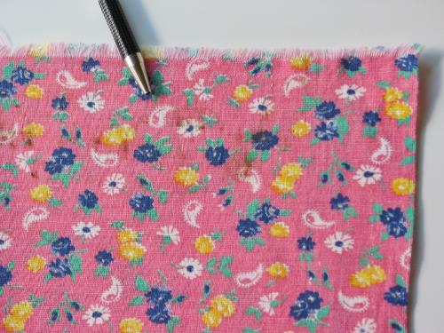 Pink Feedsack with Blue and Yellow Roses