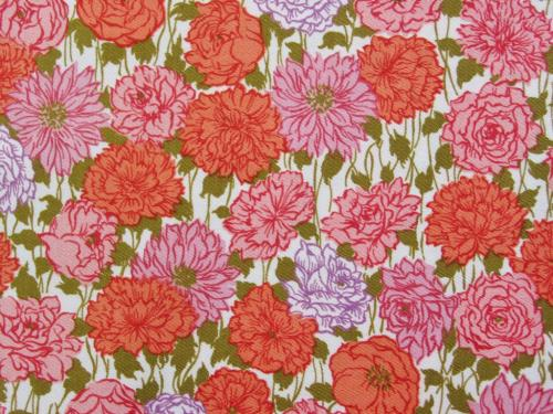 Vintage Pink Orange Cotton Sateen Fabric