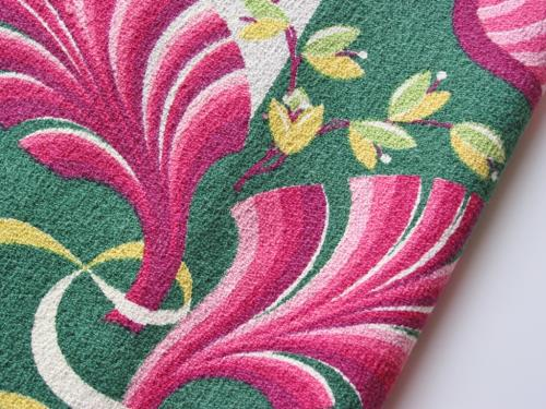 Vintage Funky Pink Leaves Barkcloth