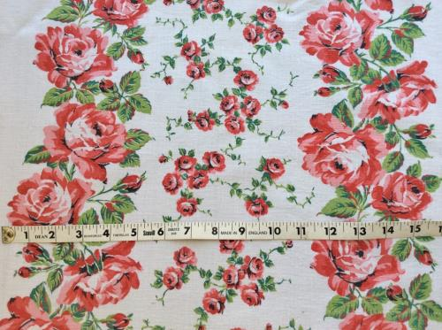 Vintage Pink Red Roses Cotton Toweling Fabric