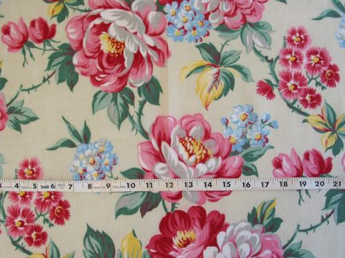 Vintage Pink Floral on Pale Green