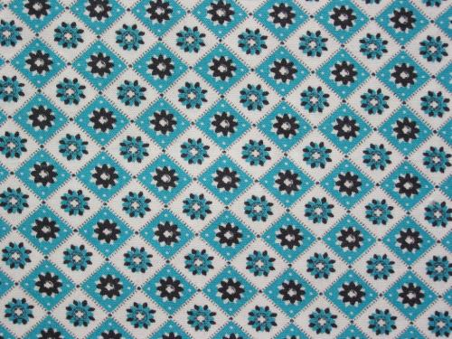 Teal Black Geometric Daisy Flowers