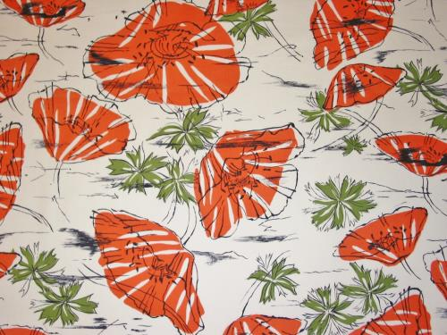 Vintage Midcentury Orange Poppy Rayon Fabric